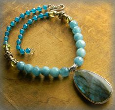 Blue Flash Labradorite Choker Pendant Necklace by ChrysalisToo, $88.00