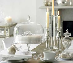 divine cake dome and pretty white Christmas table scape from The White Company