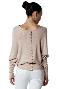 All The Stops Button Back Off The Shoulder Top - Oat