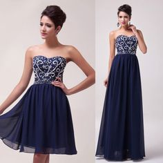 2 Styles Long/Short Strapless Chiffon Evening Formal Party Prom Bridesmaid Dress #Unbranded #BallGown #Cocktail