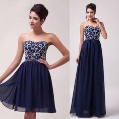 2015 Lager Blau kurz/Lang Abendkleider Abschlussball Kleid Gr.32/34/36/38/40/42+