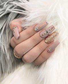 Custom matte nude nails design.