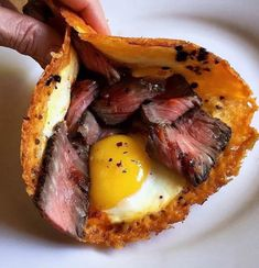 """food-porn-diary: """"Steak and Eggs wrapped with a fried cheese shell """" Cheese Fries, Meat And Cheese, Fried Cheese, Granola, Steak Breakfast, Diet Recipes, Healthy Recipes, Healthy Breakfasts, Healthy Food"""