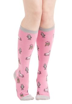 Ever Eccentric Socks. You really know how to quirk it in these printed, knee-high socks! #pink #modcloth