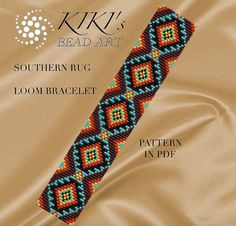 Bead loom pattern - Southern rug ethnic inspired LOOM bracelet pattern in PDF - instant download
