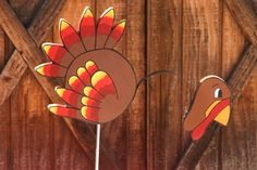 Items similar to Brightly Hand Painted Wooden Turkey Yard Stake on Etsy Turkey Painting, Deco Mesh, Tigger, Flower Arrangements, Thanksgiving, Thankful, Yard, Hand Painted, Bright
