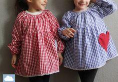 Kariertes Kleid für Kinder // squared dress for kids by kleine Wölkchen via DaWanda.com