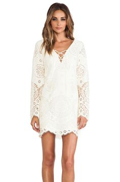 Twelfth Street By Cynthia Vincent Lace Up Bell Sleeve Dress in Cream