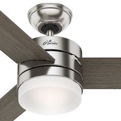 3878f583798 Hunter Fan 54 inch Contemporary Ceiling Fan with Remote Control in Brushed  Nickel (Certified Refurbished