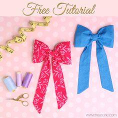 Fabric Bow Headband, Fabric Hair Bows, Fabric Flowers, Diy Headband, Diy Hair Scrunchies, Diy Hair Bows, How To Make Headbands, How To Make Bows, Sewing Patterns Free
