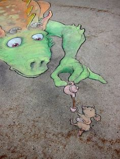 street art by David Zinn (June 16, 2013)