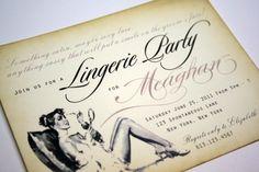 Vintage Bachelorette Invitations Lingerie Shower Invitations Bridal shower invitations with pearlized pink envelopes -  set of 40 by anistadesigns on Etsy https://www.etsy.com/listing/81481310/vintage-bachelorette-invitations