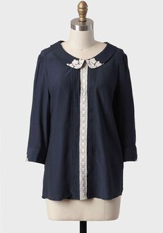 Sweet As Cream Top In Navy.  Again, I think that touch of lace on the collar could be an easy DIY