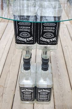 Jack Daniels Glass Top Table-Liquor Bottle-Recycled Bottles-Lounge-Bar-Man Cave-Cabin-Hunting Camp. $85.00, via Etsy. craft-ideas