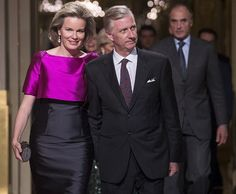 Queen Mathilde and King Philippe of Belgium and Prince Lorenz and Princes Astrid of Belgium attended the Autumn Concert 2016 at the Royal Palace on October 19, 2016 in Brussels, Belgium.
