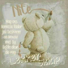 Teddy Bear Pictures, Bear Pics, Goeie Nag, Afrikaans Quotes, Good Night Sweet Dreams, Good Night Quotes, Sleep Tight, Day Wishes, Cute Images