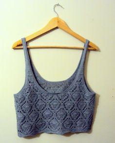 Crochet Top Tank Halter Cotton Grey Summer Top by GrahamsBazaar, $40.00