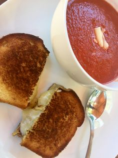 Tomato Basil soup with havarti dill grilled cheese!  For soup: two can whole canned tomatoes with juices, garlic powder and basil... with veggie broth (for more protein add a meat broth) blend with emersion blender for a long time!  Grilled che's is best if you add Dukes mayo to each side and toast before adding cheese!