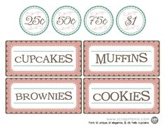 free printable bake sale sign and labels