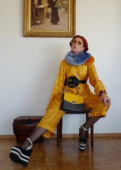 The wardrobe of Ms. B: And then I wore yellow,