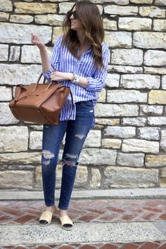 DEVASTATINGLY CHIC - STRIPES, DISTRESSED DENIM, CHANEL ESPADRILLES, CELINE PHANTOM