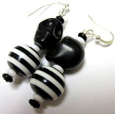 Day of the Dead Earrings Jailbird Black Sugar by sweetie2sweetie, $6.99