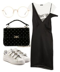 """""""Untitled #3847"""" by dkfashion-658 ❤ liked on Polyvore featuring R13, adidas, Valentino and Linda Farrow"""