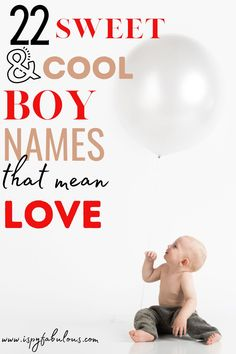 "Looking for that perfect boy name for your little love? These 22 sweet and cool boy names mean ""love"" or some version of the word. #boyname #babyname Names That Mean Love, Cool Boy Names, Unique Boy Names, Girl Names, Italian Baby Names, Irish Baby Names, Modern Baby Names, Unisex Name, Gender Neutral Names"