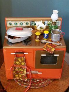 Vintage Toy Kitchen Stove LOADED w/Goodies & Thanksgiving Turkey - AG Doll,Bear