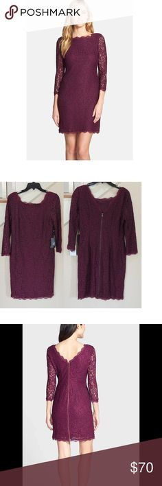 """Purple 3/4 Sleeve Lace Sheath Cocktail Dress ** Reasonable Offers Welcome - No Trades**--Approx measurements lying flat: -Bust (armpit to armpit): 19"""" - Waist (Smallest part of the waist) : 15"""" - Hips: 19 1/4"""" - About 36 1/2"""" from shoulder to hem -Bateau neckline -Raglan elbow sleeves -Floral lace illusion top details -Molded and padded bust -Beaded accents throughout -Concealed side zipper -Lined -Nylon -Professional spot clean -Imported Adrianna Papell Dresses"""