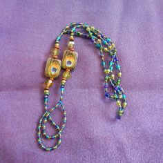 aqua teal purple gold and turquoise with by TheVelvetMannequin, $15.00