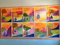 Grade 5 studies ancient Persian, Greek, and Indian civilizations. Watercolor student art of Buddha from the Grade 5 ancient Indian civilization block. www.tucsonwaldorf.org.