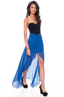 Strapping Bustier Dress in Black and Blue