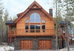 kimberley485 with a walk out basement instead of garage Log Cabin Homes, Log Cabins, Small Cabins, Small Log Cabin, Basement House Plans, Lake House Plans, House Plans With Garage, Cabin Plans, Garage Plans