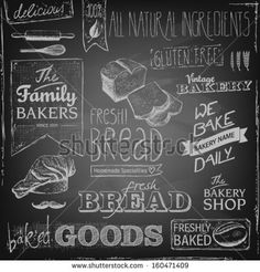 set of various bakery elements and chalk typography on a blackboard, bread, mustache, chef's hat, natural ingredients - stock vector