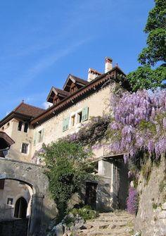 Small foot-path going up the castle of Menthon-Saint-Bernard.
