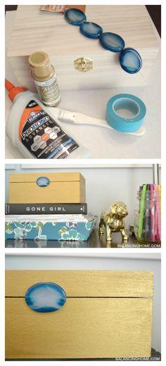 DIY gold jeweled box tutorial. Great decorative storage idea for desk/office organization.