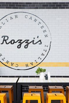 Rozzi's Italian Canteen in Melbourne by Mim Design   Yellowtrace. Like the graphic with circle and font.