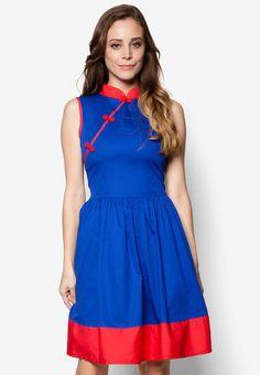 Blue Cheongsam Dress Blue Qipao Modern Cheongsam Simple by MOJONET