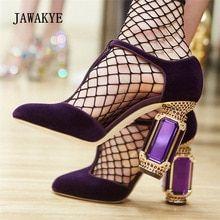 6eb70cd112e 2018 New Runway High Heels Women Luxury Velvet Rhinestone Diamond Jewel Heel  Shoes Women T-