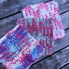 Add a pop of color to your kitchen with this {one-of-a-kind} coordinating set of dishcloths! Pretty Red|White|Blue|Grey, double stranded for extra durability! These slightly thicker cloths can also be used as trivets/pot holders!