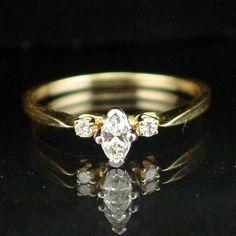 Stunning 14k Marquise Cut Diamond Ring Size 5-1/2