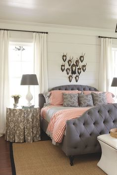 Sherry Hart Designs: Southern Living Idea House - Chic cabin bedroom with white wood paneled walls and ...