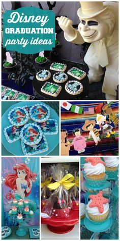 A Disney themed graduation party with Little Mermaid, Haunted Mansion and Small World ideas!  See more party ideas at CatchMyParty.com!