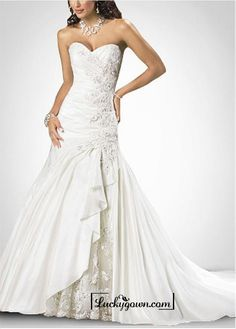 Buy Beautiful Exquisite Elegant Thick Taffeta A-line Wedding Dress In Great Handwork Online Dress Store At LuckyGown.com