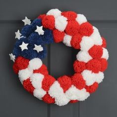 Red,+White+&+Blue+Pom+Pom+Wreath+