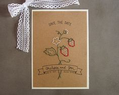 Strawberry farm embroidered kraft wedding save the date