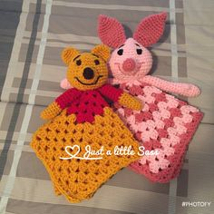 Winnie the Pooh and Piglet Lovey Blankets Crochet