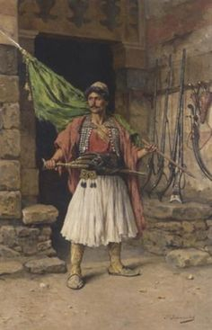 The Greek sentinel - Paul Joanovitch (Austrian, Oil on Canvas Costume Ethnique, Albanian Culture, Jean Leon, Greek Paintings, Greek Warrior, Medieval Armor, Inspirational Artwork, Sketch Painting, Painting Videos
