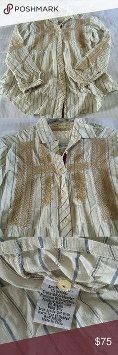 Johnny Was/3J Shirt Cream with blue stripes and tan embroidery short. Sleeves room up and button. Fullness to bottom of shirt. No PayPal or trades. Offers welcome. Johnny Was Tops Button Down Shirts